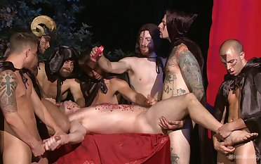 Gay males uses hot wax on guy's pest and penis during gay orgy