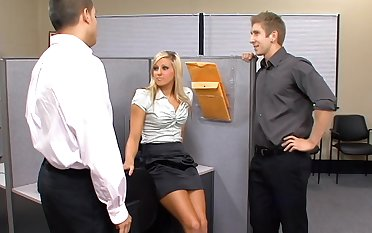 To deserve steamy doggy banging office slut Lilly Kingston sucks two dicks