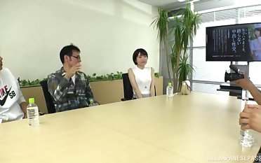 Hardcore threesome fucking on the office table just about Fujie Shiho