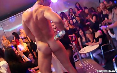 Massive fuck fest during a party with male strippers and unmasculine sluts