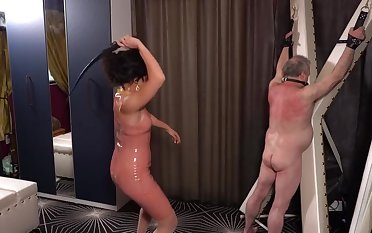 Latex Governess abuses Say no to Whipping Boy ft/ Mistress Lucy Khan
