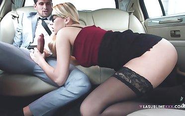 Horny kingpin makes his secretary suck his dick in hammer away limo - Nikki Dream