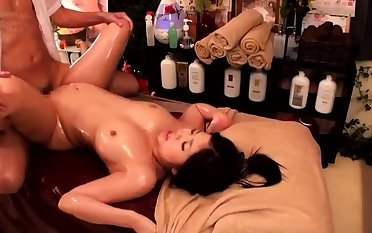 Kneading with twat fingering for Japanese girl