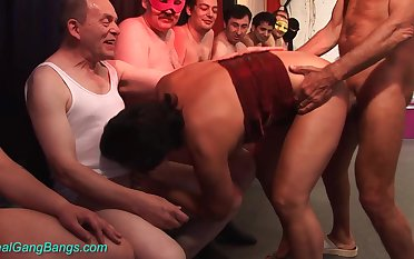 Horny 70 epoch old mom first gangbang orgy