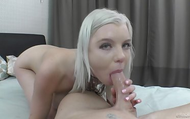 Aroused blonde deals the tasty dong in a flawless POV