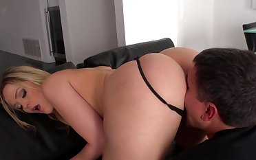 Aroused blonde sure craves for this man's penis in the air her ass
