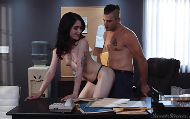 Dude loves to bend over his co worker over be passed on desk and make the beast with two backs her silly