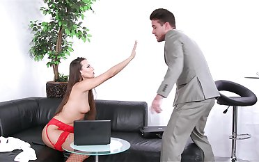 Provocative agony aunt Mea Melone teases her boss and gets fucked