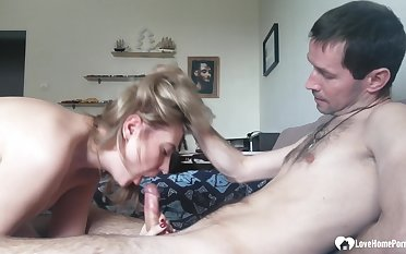 Provocative blond stepmom loves sucks a male lounge