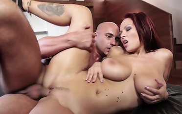 Busty beauty likes the loving feel of cock in her shaved cunt