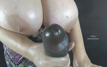 Big Incomparable Women With Time again Of Tits Gives Handjob - stroking