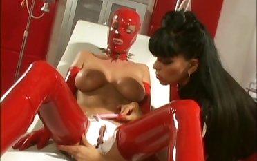 Latex loving sluts playinh on the table - Krystal Summers & Natasha Sweet