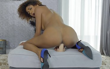 Aroused ebony give crispy hair, naughty toy porn
