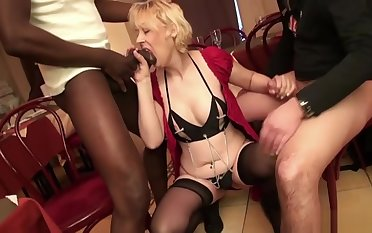 French Mature Christiana Gangbanged In Stockings