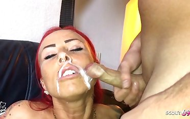 German Redhead Fitness Teen Bonk older Guy and let Face Cum
