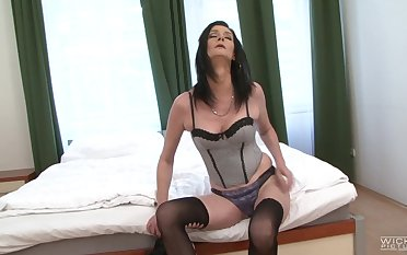 Black smile radiantly inserts his prick in pussy with an increment of ass of cougar Laura Dark