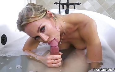 Big titted blonde woman, Nicole and her new lover are making out in the bathroom, 'round day long