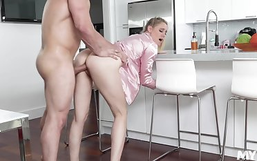 Hot uncle's wife with pajama Addie Andrews offers herself with the kitchen