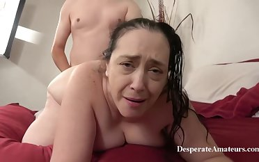 Insatiable granny, Liza was desperate for a consenting fuck, ergo she invited a younger guy over