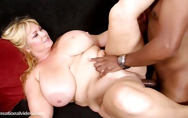 Samantha 38G is a blonde getting nailed