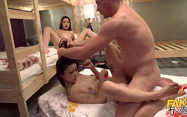 Roommates receive one's dad for a wild chapter of threesome