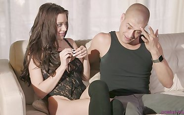 Hot babe Lana Rhoades gets messy facial contain steamy pussy ache