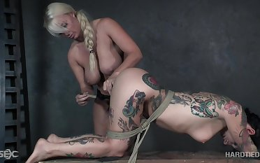 Demonstrative poor submissive whore Joanna Angel is fucked less strapon