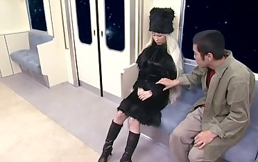 Blonde Japanese explicit takes a stiff detect in her mouth increased by loves it