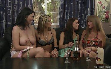 Mature pornstar Darla Davit teaches Adriana Chechik  how close by eat pussy