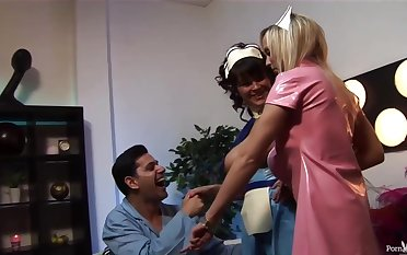 Insatiable nurses would never miss an opportunity for past help fuck, even via their working hours