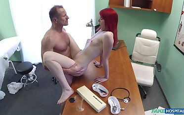 Red-haired slut Anne Swix gets drenching on with her physician