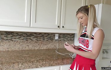 A slutty cheerleader has sex beside their way procreator and become absent-minded girl gives good head