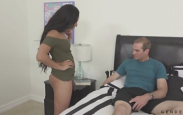 Hot TS-girl tempts a man with her meat stick with the addition of that bitch loves with reference to fuck