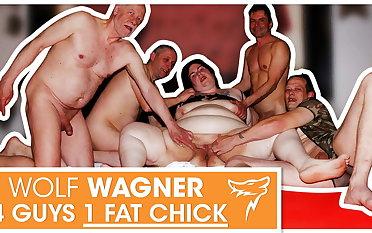Swinger orgy! Fat slut enjoys 3 fixed cocks! WolfWagner.com