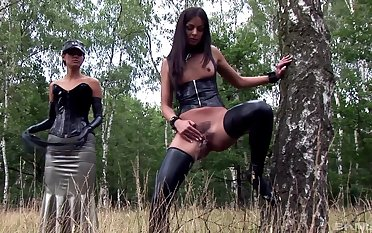 Dirty sluts Uncalculated and Lucy Li shot at some naughty lesbian fun upon outdoors