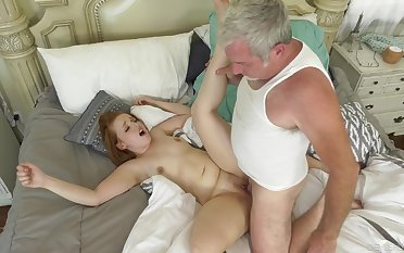 Senior man deep fucks younger step daughter