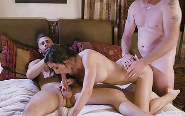 Needy brunette bends for a double video
