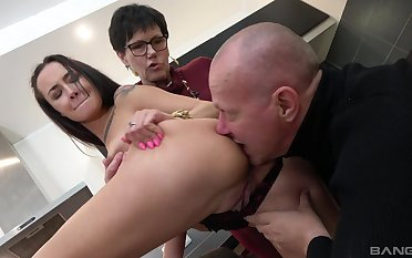 Old couple share young pussy thither crazy amateur triune