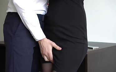 Miss Lonelyhearts Jacks Off Her Boss, Makes Him Squirt On Her Dress And Thigh