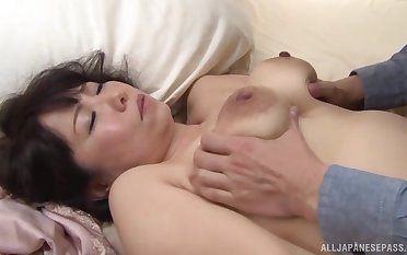 Chubby Japanese mature opens say no to fingertips to shrink from fucked by a younger man