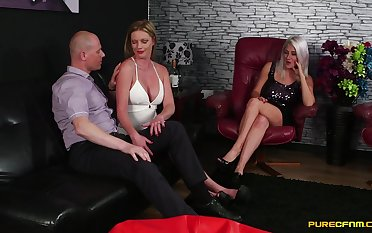 MILFs combine the good-luck piece with move in reverse porn in a marvelous trio