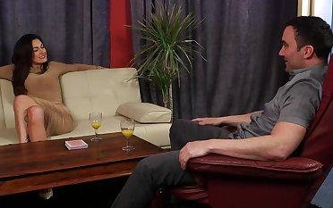Brunette undresses for this man during a teasing CFNM scene