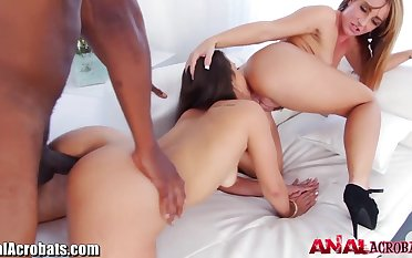 Two bootyfull vixens Kelsi Monroe and Savannah Speedily love interracial threesomes