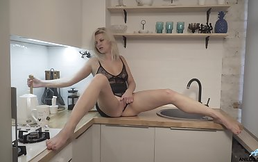 Video of naughty of age wife Jessica Best playing in the kitchen