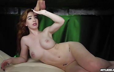 Nala Cums from Wand during Milking Cabinet Wank