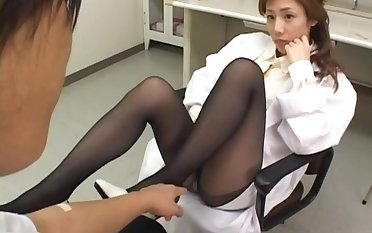 Hot Japanese doctor Hitomi Hasegawa loves riding dick during leave of absence